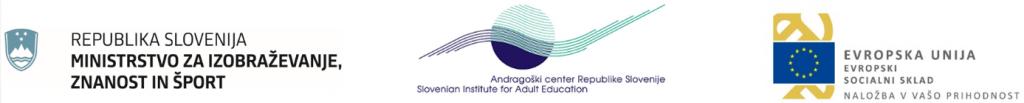 Logotipi Ministrstvo za izobraževanje, Andragoški center, Evropski socialni sklad